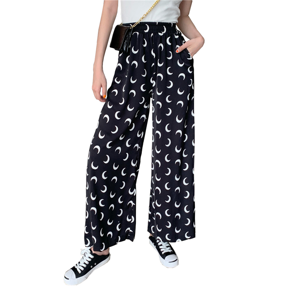 Wide     Leg     Pants   Women Trousers Elastic High Waist Loose Printed Female 2019 New Fashion Chiffon Long Womens Pantalon Femme   Pant