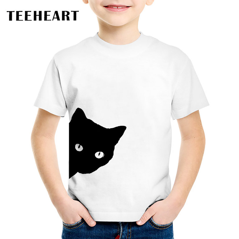 18M-10T Summer T-Shirt for Children Naughty Black Cat Head Print t shirt Boys/Girls Top Tees Outwear TA165