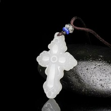 Drop shipping XinJiang White Jade Cross Pendant Necklace Jade Stone Amulet Necklace With Chain For Men Women cross drop chain necklace