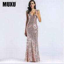 MUXU sexy summer womens clothing gold sequin dress glitter dresses jurken vestidos mujer long robes femme woman clothes