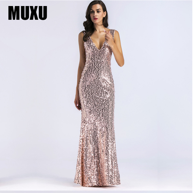 Muxu Sexy Summer Womens Clothing Gold Sequin Dress Glitter Dresses