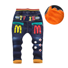 Baby Boys Clothing 2018 High Quality Thicken Winter Warm Cashmere Jeans Children Pants Boys Straight Cartoon Trousers 2t-6t