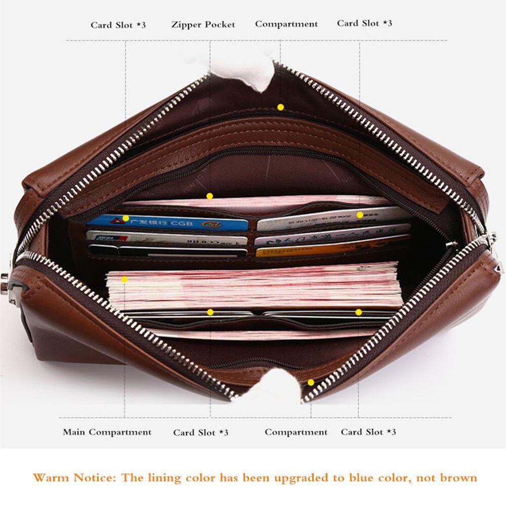 BISON DENIM en cuir véritable hommes portefeuilles d'embrayage mode Zipper homme portefeuille hommes sac à main Long téléphone portefeuille hommes pochette N8015 - 5