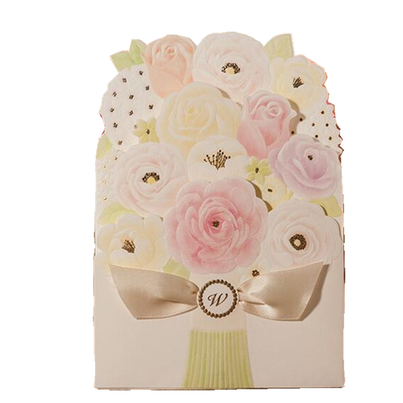 20pcs Lot Rose Flower Invitation Card Folding Style Flower