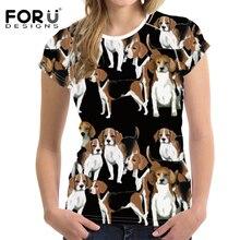 FORUDESIGNS Cute Cartoon Basset Hound Print Women T Shirt Teenagers Kawaii Puppy T-shirt for Girls Floral Pattern Tee Tops