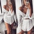 2016 novas mulheres casuais de verão profundo decote em v lace manga flare cropped tops shorts duas peças macacão combinaison playsuits femme