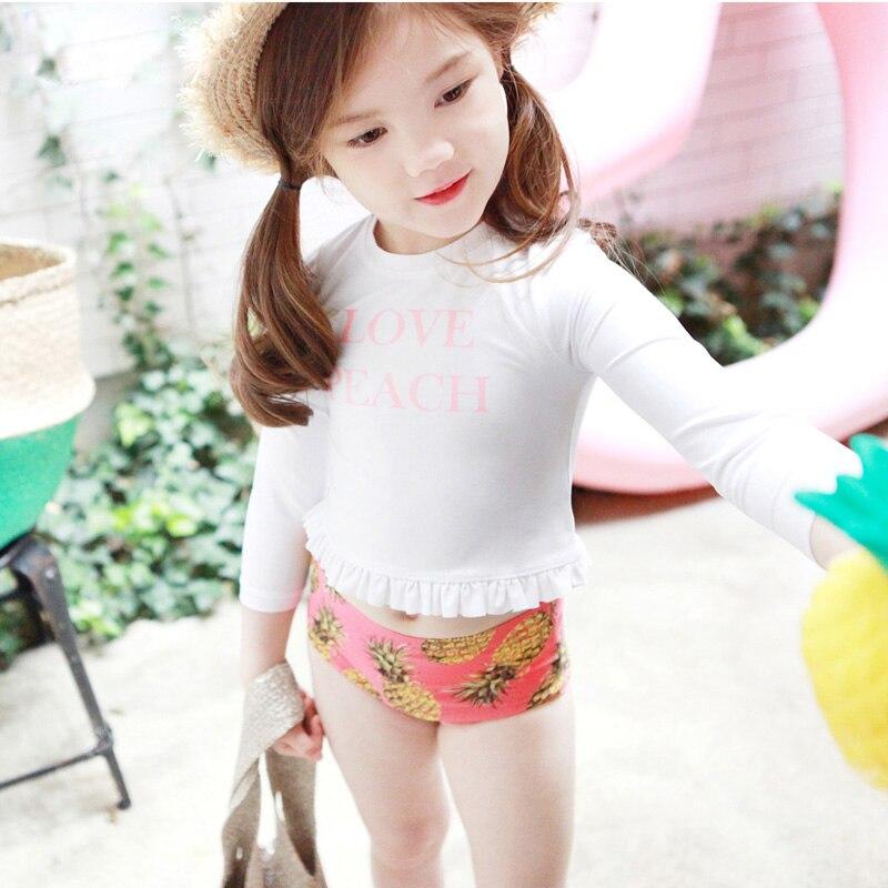 Summer Swimsuit Bathing Suit Beachwear Two Pieces Swimwear Baby Girls Swimsuits Long Sleeve Swimming Wear