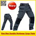 Homens calças cargo de multi-bolsos das calças dos homens calça preta de trabalho workwear frete grátis