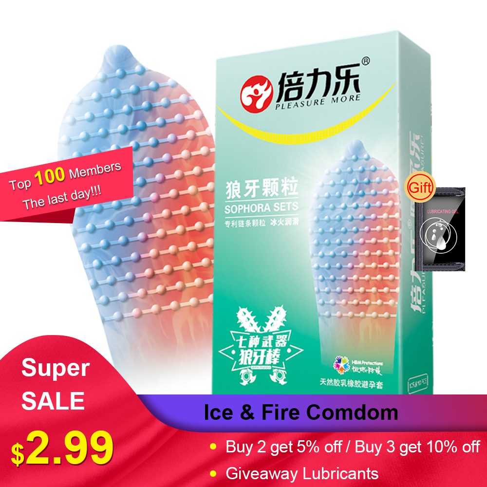 Beilile 10PCs Fire Ice Spike Condoms Large Dots Orgasm G-Spot Massage Penis Sleeve For Sex With Studs Funny Condoms For Men