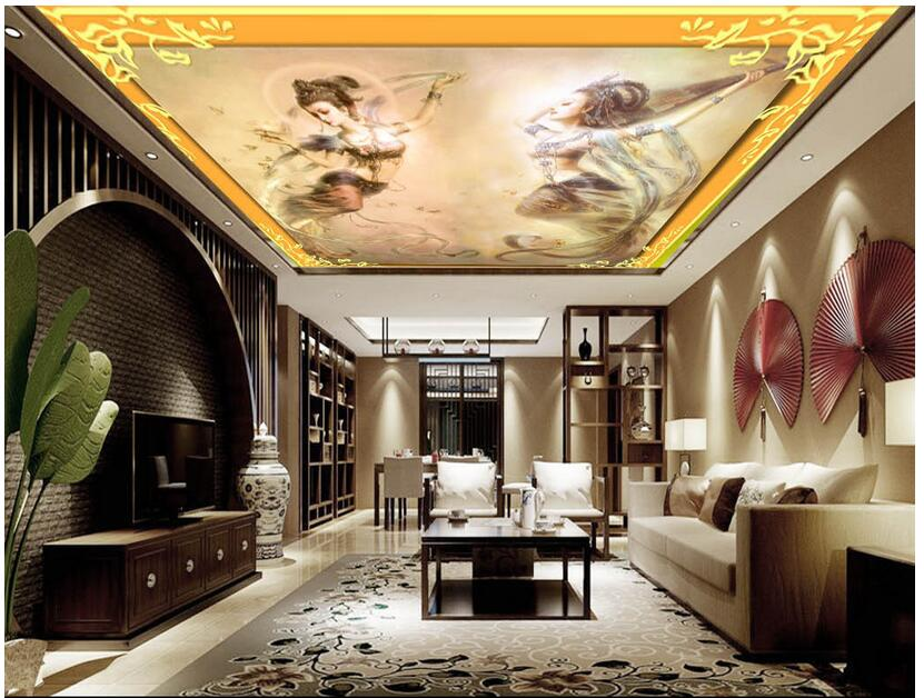 3d Wallpaper Custom Photo Non-woven Mural Picture Beauty Of Dunhuang Painting Ceiling Murals 3d Wall Room Mural Wallpaper