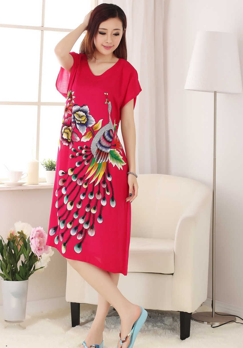 97e6213f41 ... New Red Print Peacock Ladies  Summer Home Dress Female Cotton Short  Sleeve Robe Nightgown Sleepwear ...