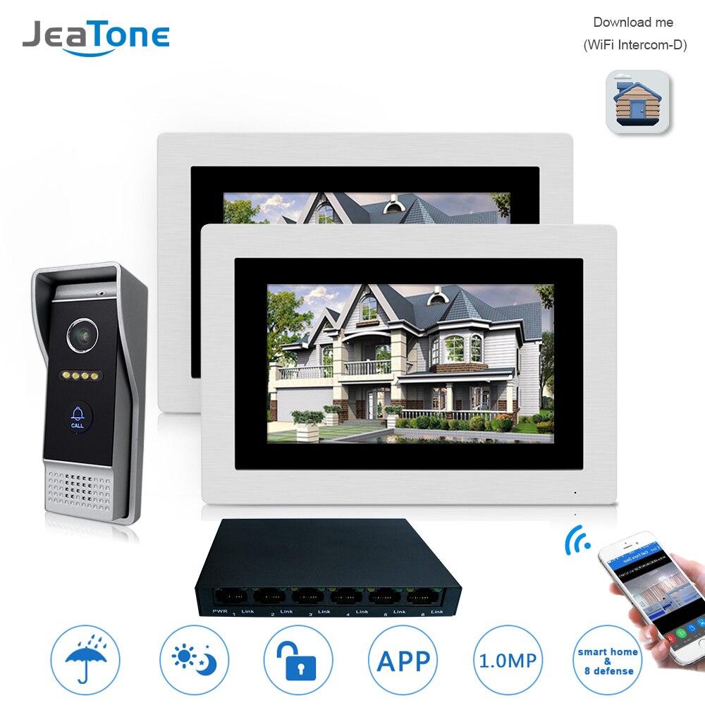 7 ''wifi IP видео домофон беспроводной дверной Звонок динамик система контроля доступа сенсорный экран Обнаружение движения 2 квартиры