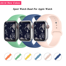 цена на Silicone Strap for Apple Watch Band 42mm 38mm iWatch Bands 40mm 44mm Sport Bracelet Belt Wrist WatchBand for Apple Watch 4 3 2 1