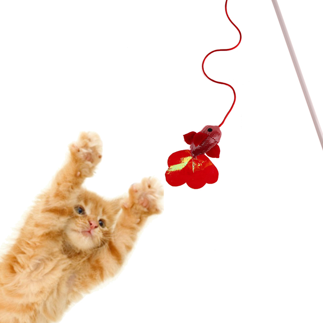 Pet Cat Toys Funny Cat Stick Fish Rabbit Shape Teaser Wand Wire ...