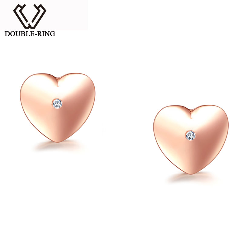DOUBLE-R Heart Earrings Women 0.01ct Diamond 925 Sterling Silver Rose Gold Stud Earrings Romantic Valentine'S Day Heart Jewelry люстра подвесная favourite eimer 1512 6p