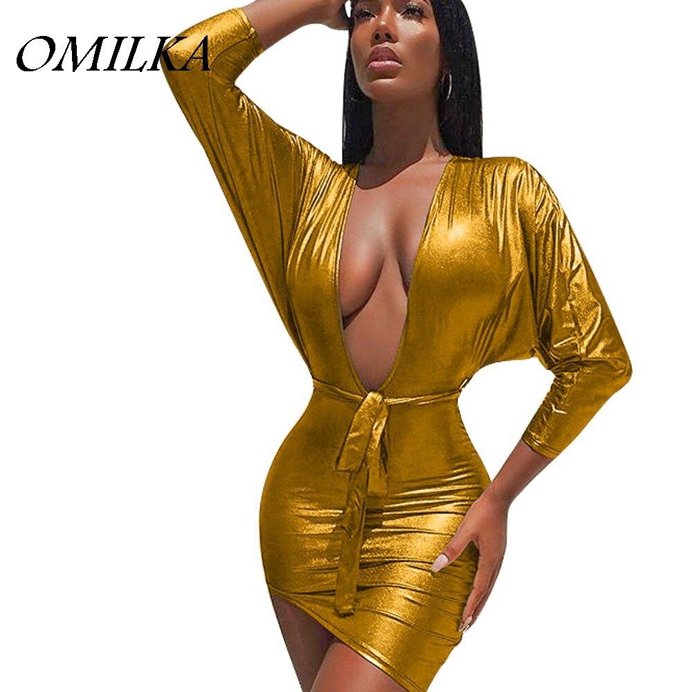 OMILKA 2017 Autumn Women Long Sleeve V Neck Bronzing Bodycon Dress Sexy Gold  Silver Glitter Night Club Party Mini Bandage Dress-in Dresses from Women s  ... 4d97f52adfbc