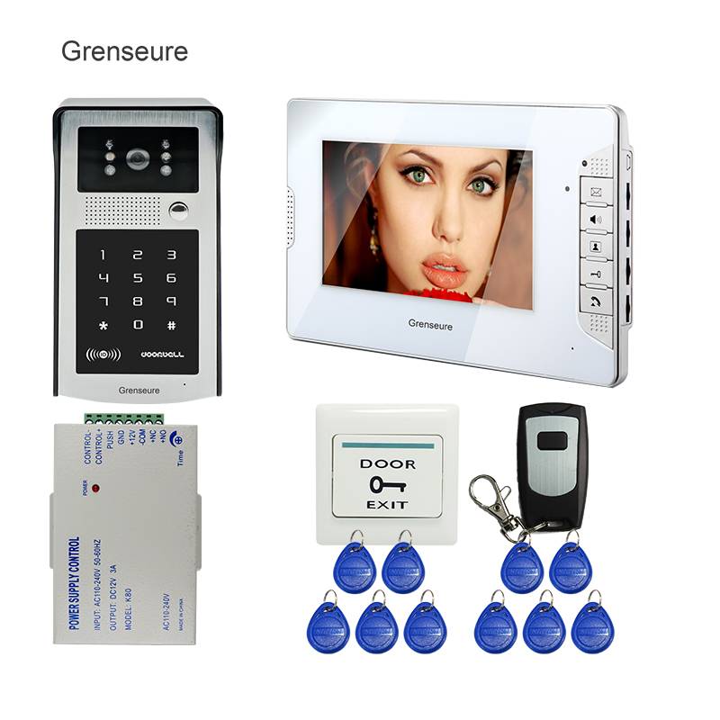 FREE SHIPPING 7 Color Screen Video Door Phone Intercom + White Screen + Metal RFID Access Keypad Password Door Camera In Stock free shipping new 7 tft lcd screen record video door phone intercom system outdoor rfid access keypad password camera 8g sd