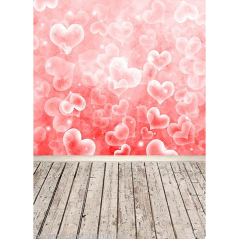 5x7ft Vinyl Valentine's Day Photography Background Studio Photo Prop Heart Wood Floor photographic Backdrop cloth 210x 150cm 8x10ft valentine s day photography pink love heart shape adult portrait backdrop d 7324
