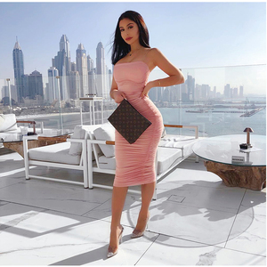 Image 4 - NewAsia 2 warstwy biała letnia sukienka kobiety 2020 elegancka Ruched Maxi sukienka różowa strona długa sukienka Sexy sukienki kobieta Party Night