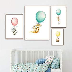 Image 3 - Carteles nórdicos de ratón y Koala con diseño de globo de canguro, erizo e impresiones, cuadro sobre lienzo para pared, imágenes para decoración de habitación de bebé, niña y niño