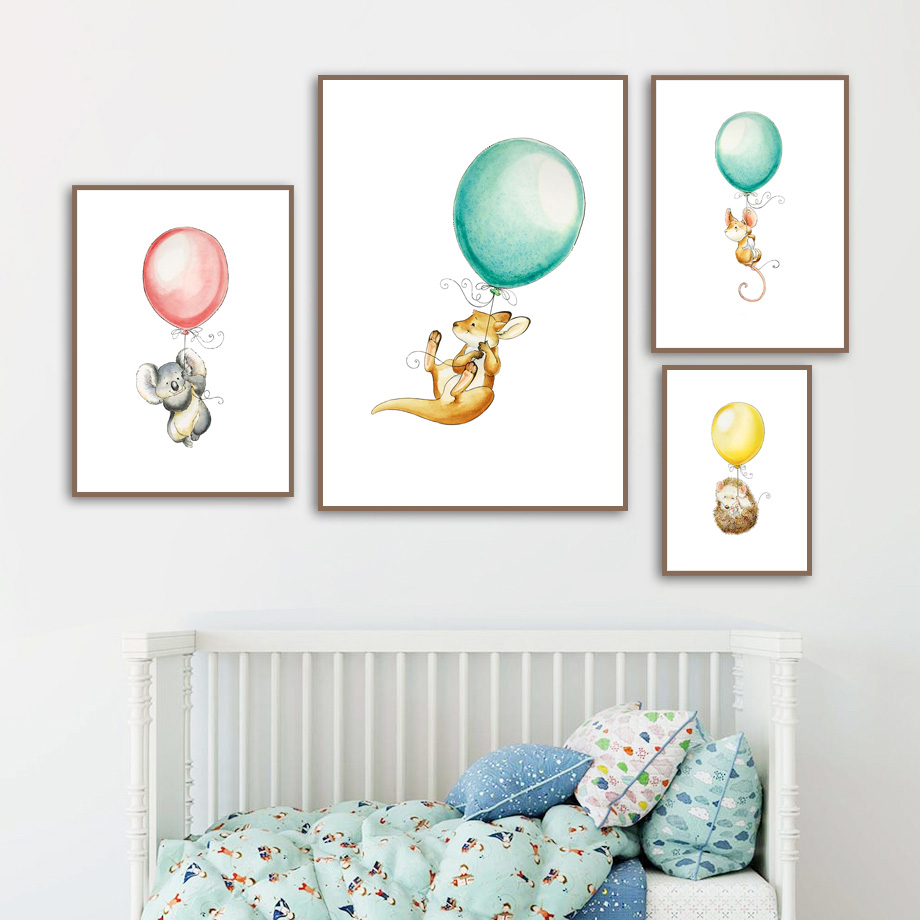 Image 3 - Mouse Koala Hedgehog kangaroo Balloon Nordic Posters And Prints Wall Art Canvas Painting Wall Pictures Baby Girl boy Room Decor-in Painting & Calligraphy from Home & Garden