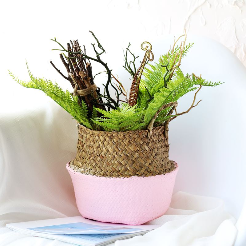 WHISM Handmade Wicker Straw Storage Basket Seagrass Hanging Flower Pot Folding Rattan Laundry Basket Home Garden Organization