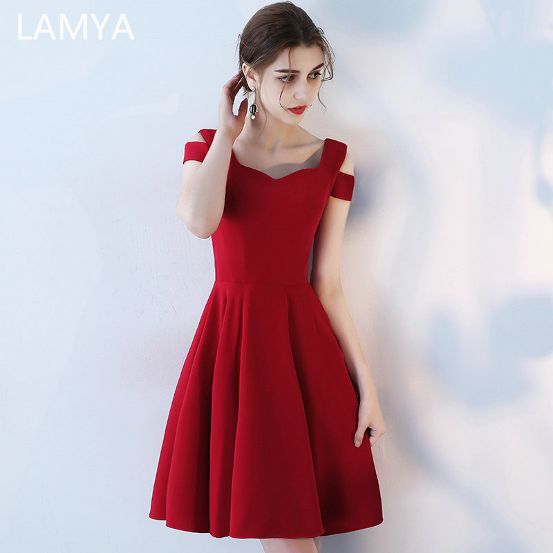 LAMYA Satin A Line Cocktail Dresses Ladies Short Elegant Evening Party Dress Simple Knee Length Robe De Soiree
