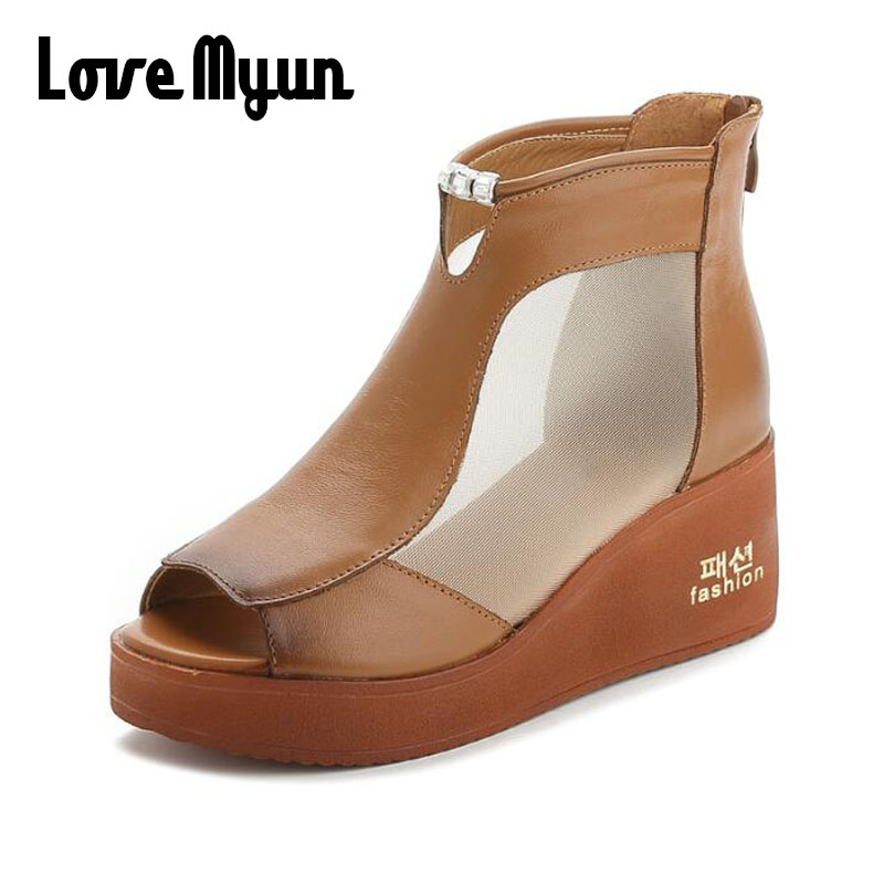 Genuine Leather Casual Shoes Women fashion Sandals Summer Platform Sandals Peep Toe Wedges Sandals High Heel Ladies Shoes SC-08 woman fashion high heels sandals women genuine leather buckle summer shoes brand new wedges casual platform sandal gold silver