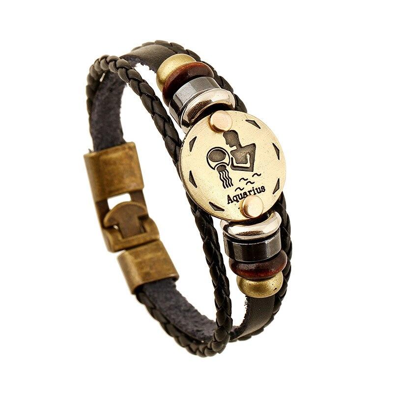 Horoscope Stainless Steel Clasp Leather Bracelet for Men