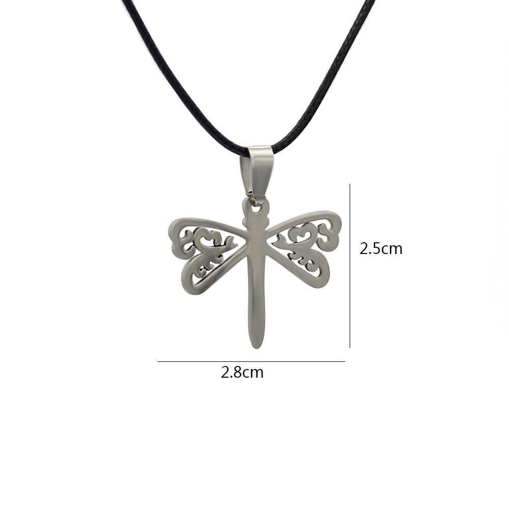 Hapiship mężczyźni kobiety moda srebrny ze stali nierdzewnej ze stali nierdzewnej Bat czaszka Dragonfly jezus wisiorek krótki naszyjnik dla chłopiec dziewczyna SS11