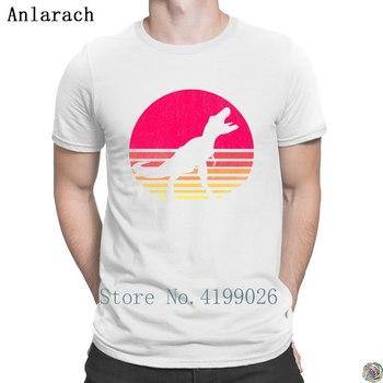 T-Rex Retro Orange Sunrise Distressed tshirts plus size Spring Autumn Clothes men's tshirt fitted Tee tops Classical Leisure