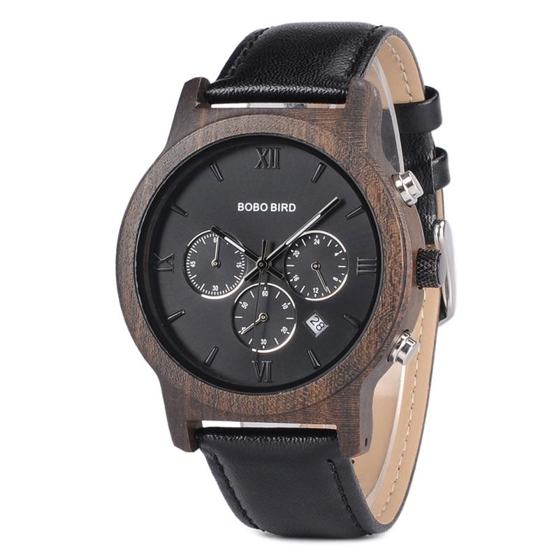 Бобо птица люксовый бренд деревянные часы мужские Кварцевые reloj hombre кожа наручные часы Секундомер в деревянной коробке erkek коль saati