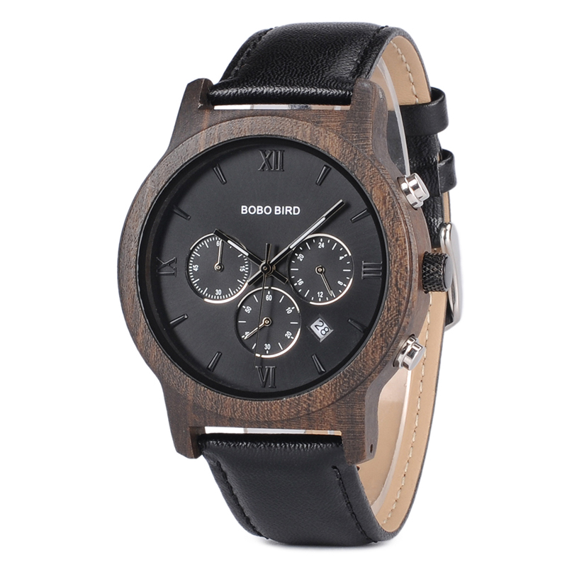BOBO BIRD Luxury brand wooden Watches men Quartz leather wrist watch Stopwatch in wood box erkek kol saati bobo bird wh05 brand design classic ebony wooden mens watch full wood strap quartz watches lightweight gift for men in wood box