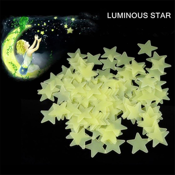 New Hot 50pcs 3D Stars Glow In The Dark Luminous Fluorescent Plastic Wall Stickers Living Home Decor For Kids Rooms