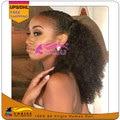 Перуанский Девственные волосы афро кудрявый вьющиеся ponytails Клип в человека Афро волосы курчавые вьющиеся хвост Афро puff парики для молодых девушка