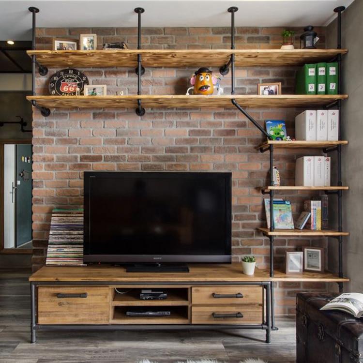 DIYHD Ceiling Mount TV Wall Shelf Industrial Black Pipe Shelf Bracket-Custom made
