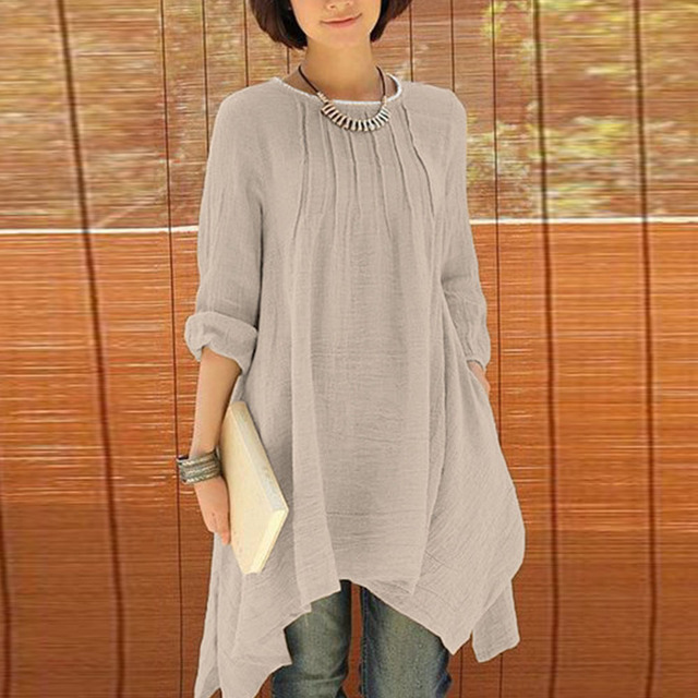 d435a6f4146 2018 Women O-Neck Long Sleeve Asymmetric Hem Cozy Cotton Linen Blend Blouse  Tunic Shirt Pockets Tops