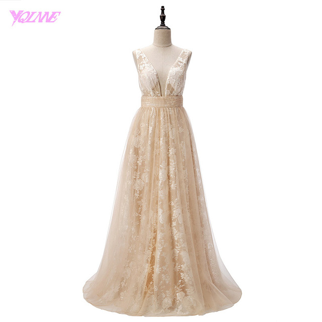 YQLNNE 2018 Sexy Deep V-Neck Champagne Lace Tulle Robe De Soiree Evening Dresses Long Party Dress