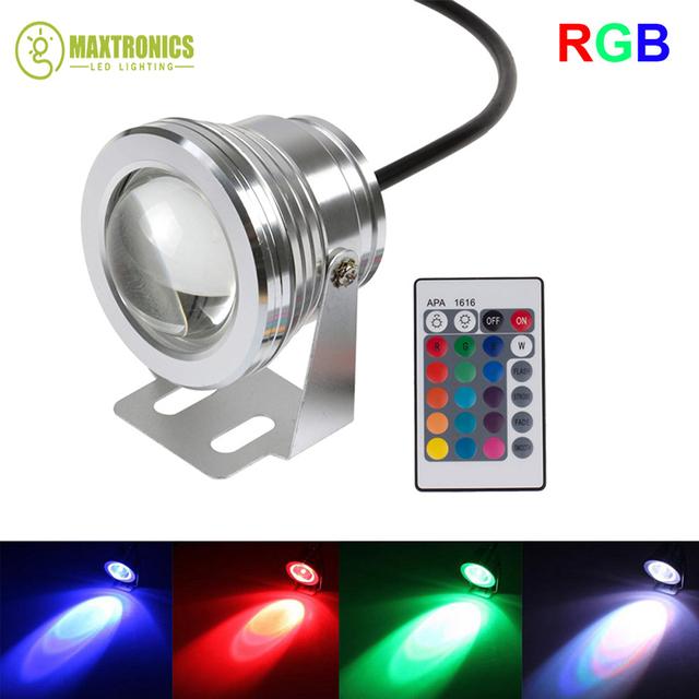 10 W 12 v subaquática RGB Led Light 1000LM Waterproof IP68 fonte piscina Luzes Da Lâmpada 16 alterar cor + Controle Remoto IR 24key controlador