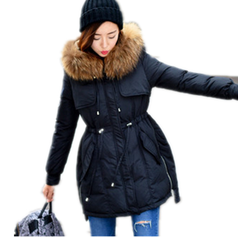 2017 Winter Jacket women Cotton Padded Womens Coats Fur Collar Hooded down Wadded Parka Winter coat Female womens coats and jackets thick fur collar winter jacket women hooded cotton wadded jacket parka female outwear maxi coats c3708