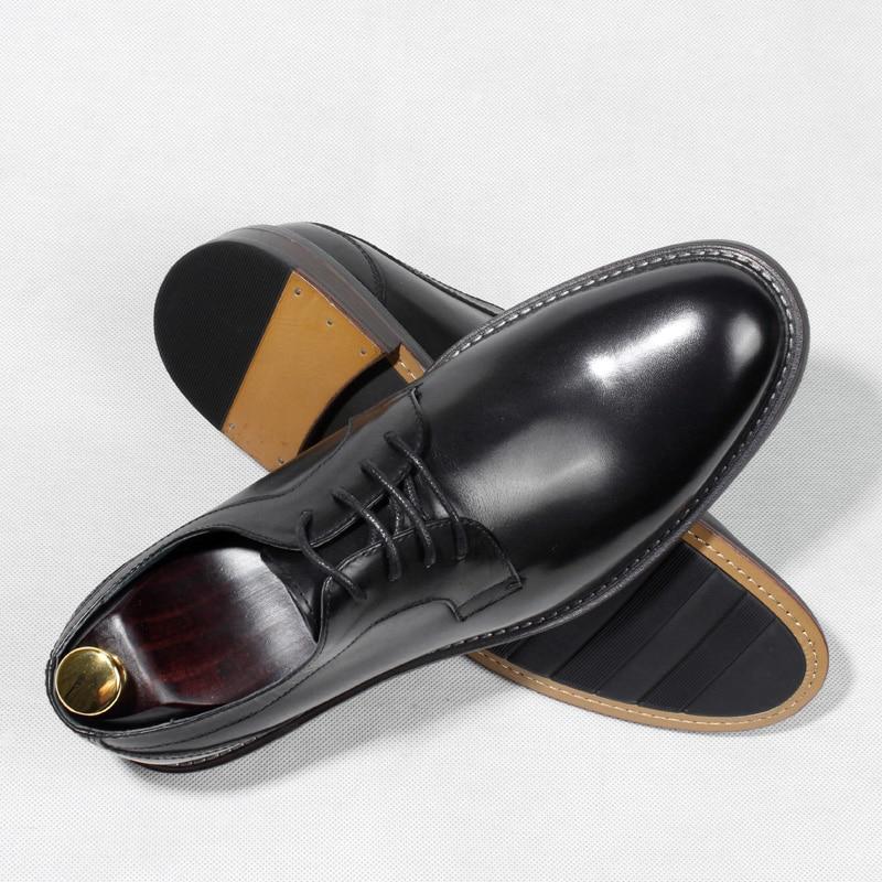 Style britannique hommes Goodyear chaussures en cuir à la main talon plat dentelle hommes chaussures d'affaires formelles - 2