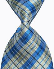 Brand New Classic Yellow Plaid Tie Light Blue Jacquard Woven 100% Silk Fashion Business Wedding Party Men's Ties Necktie