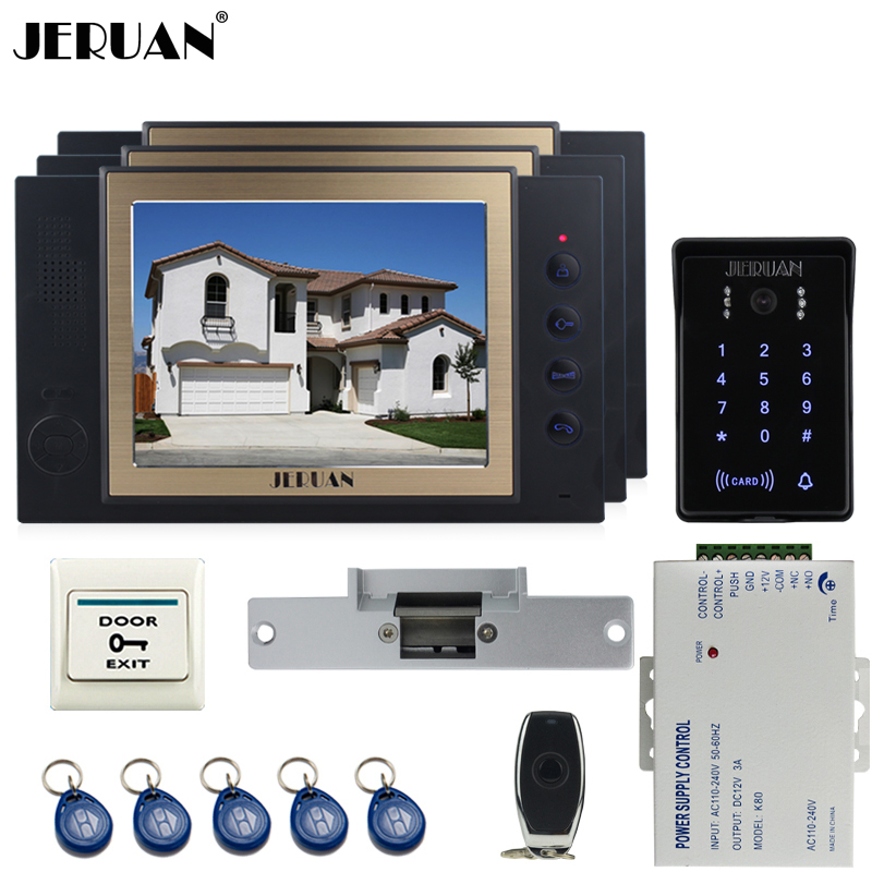 JERUAN New RFID waterproof Touch Key password keypad Camera Home Wired 8`` TFT video doorphone Record intercom system kit 1V3 jeruan wired 7 touch key video doorphone intercom system kit waterproof touch key password keypad camera 180kg magnetic lock