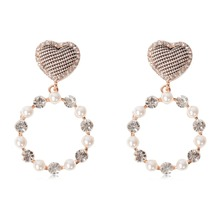 Elegant Heart Crystal Simulated Pearl Round Circle Dangle Earrings Pendientes For Women Personality Ear Jewelry