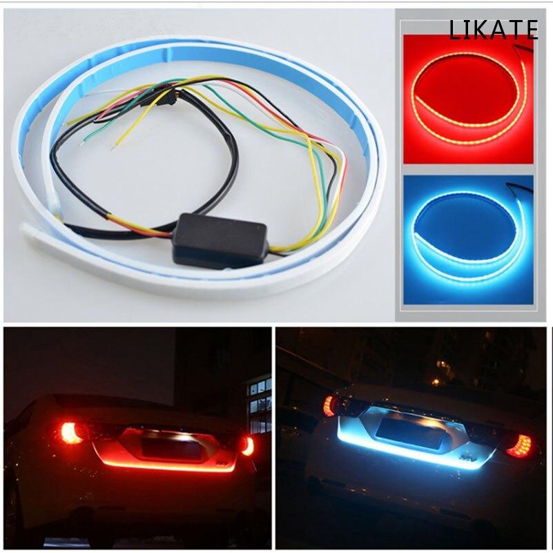 все цены на  Car  Rear Tail Box  Streamer Light, Northbear 120CM Dual Color Running Flow Type Brake Turn Signal LED Strip DRL Lamp Decoration  онлайн