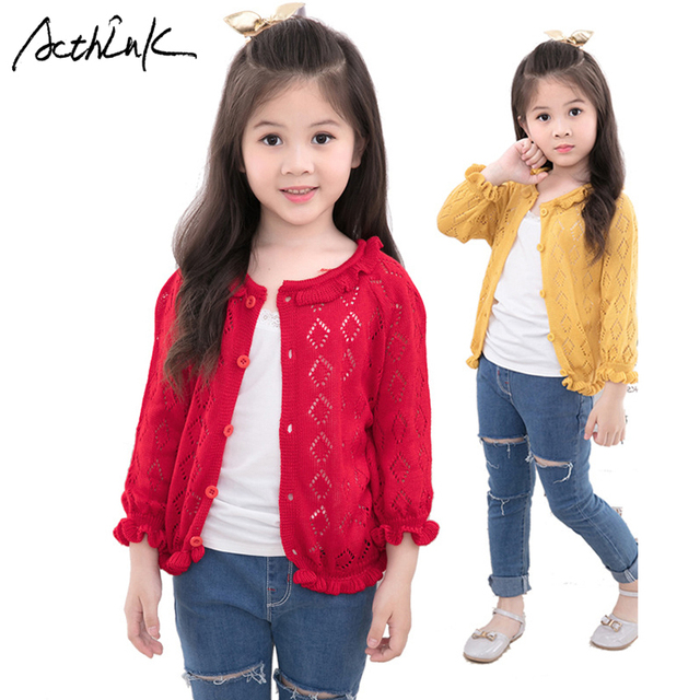0c64ae26814 ActhInK New Girls Hollow Out Cardigan Sweater 4 Designs Baby Girls Summer Autumn  Knitted Sweater Kids Spring Coat for Girls