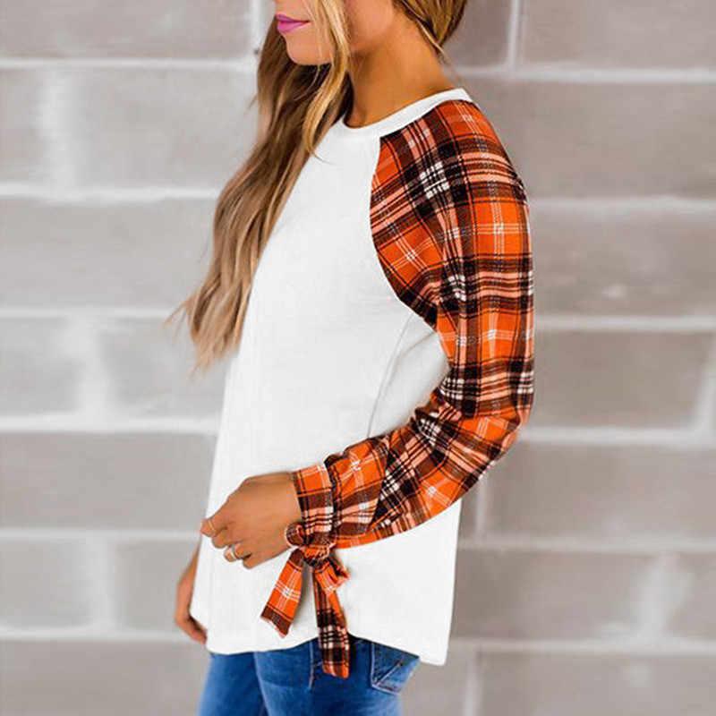IYAEGE Повседневная футболка для женщин 2018 весенние рубашки в клетку Лоскутные Женские топы с бантом и длинным рукавом Футболка Femme Blusas Camiseta Mujer