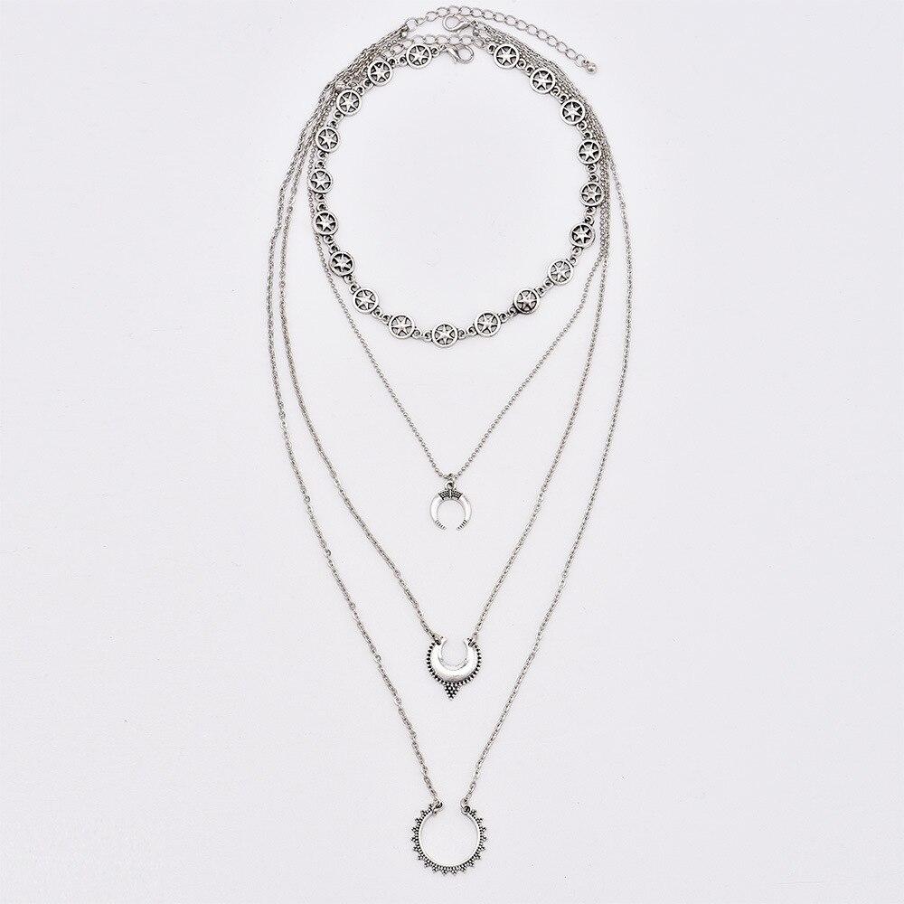 13730c87a4d0 KMVEXO Vintage Silver Stars Gargantillas Collares Moda Múltiples Capas de  Luna Colgante Collar Declaración Joyería Bohemia para Mujeres. 1 2 3 4 5 6