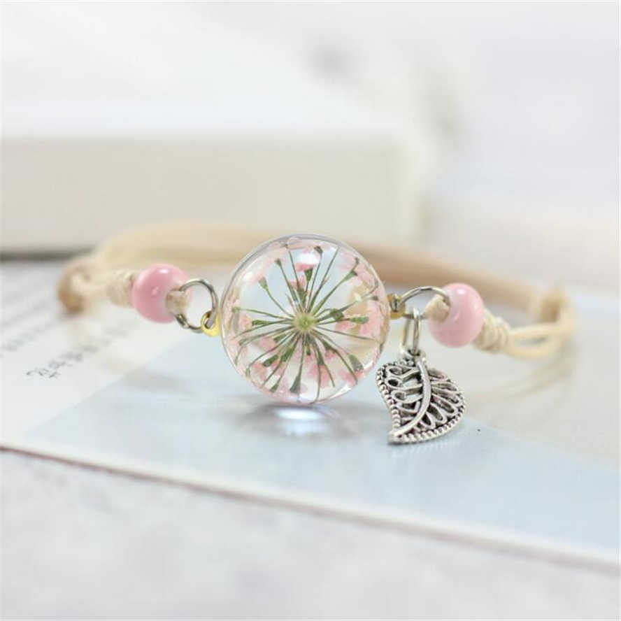 2018 New Boho Vintage Charm Bracelet Handmade Real Dry Flower Glass Ball Weave Adjustable Bracelets Bangle for Women Fashion