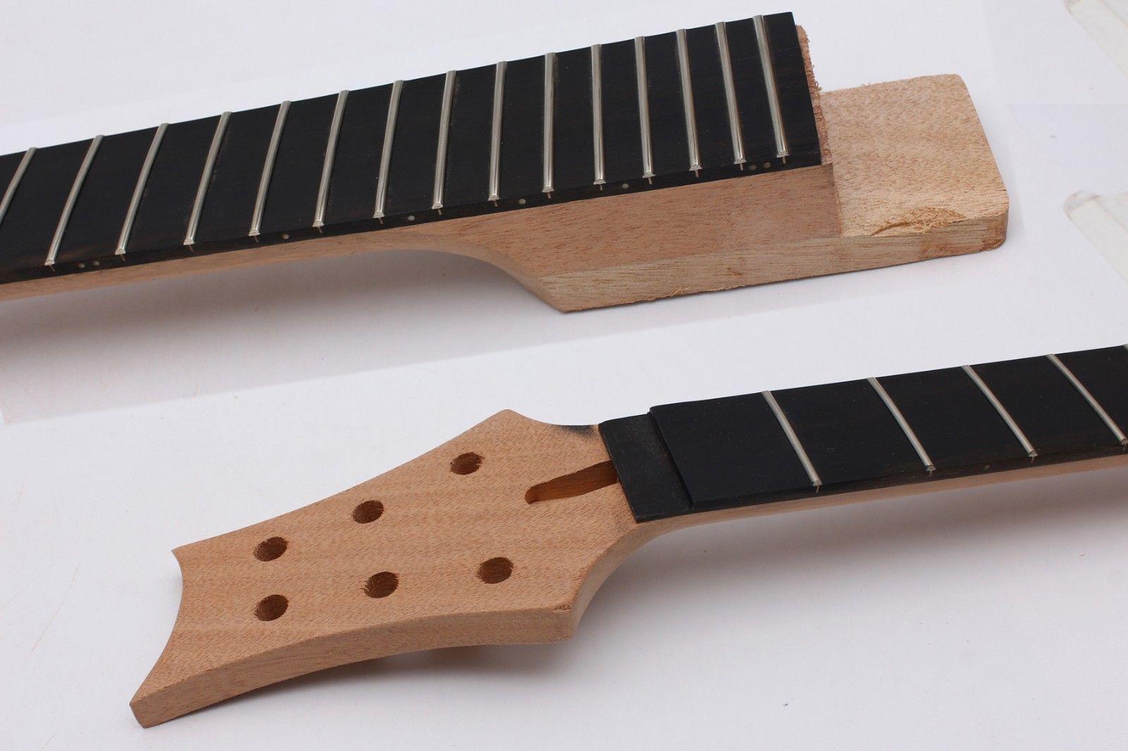 Guitare électrique cou 22 Fret acajou ébène Fretboard écrou de verrouillage pièces de guitare inachevées